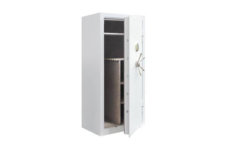 Présentation d'une armoire à fusils blanc BORDOGNA