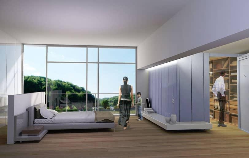 Vue de l'incrustation discrète d'une chambre forte dans une habitation