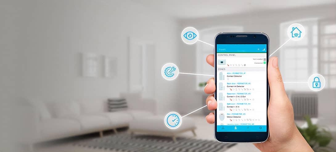 Habitation protégée par un système d'alarme VISONIC et son application mobile connectée